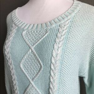 Turquoise cable knit cropped sweater